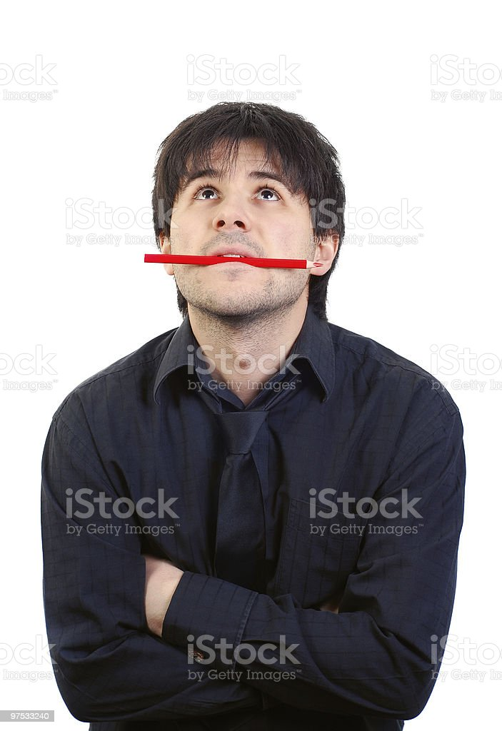Concentrated businessman waiting. Pensive man royalty-free stock photo