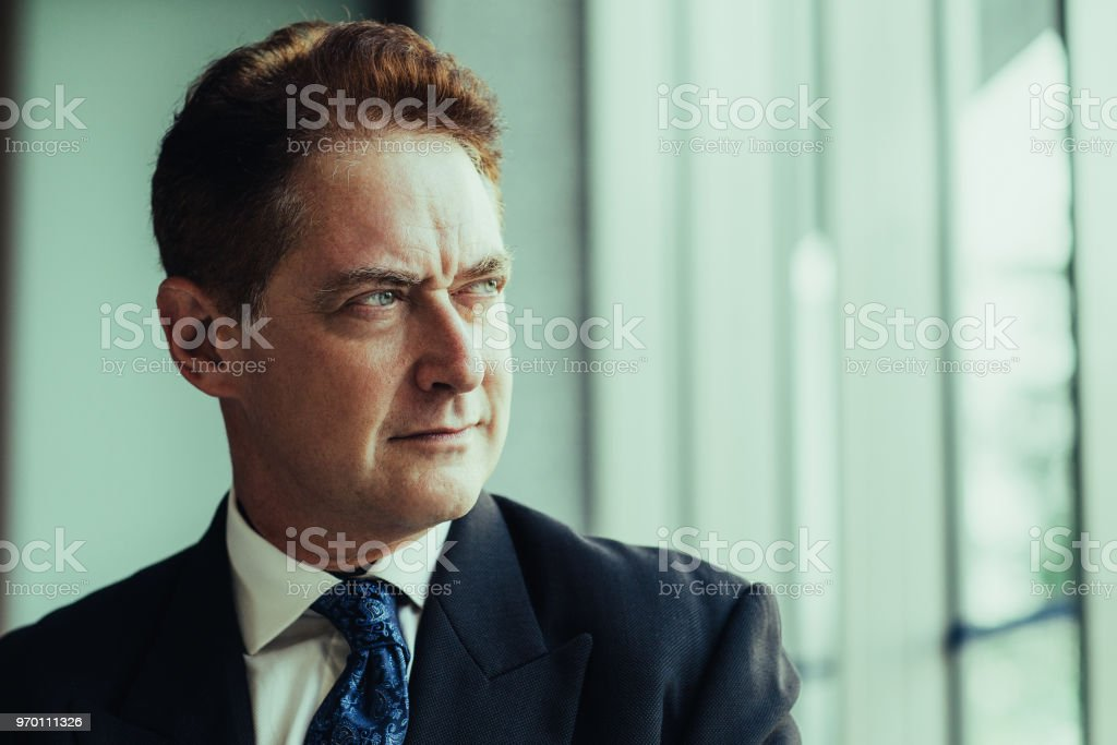 Concentrated Mature Businessman Looking Aside In Office