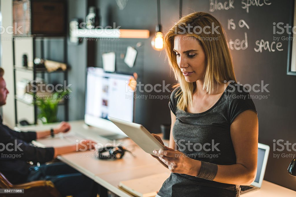 Concentrated on a work stock photo