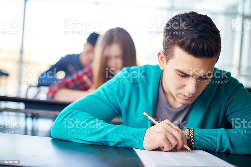 Concentrated on test stock photo