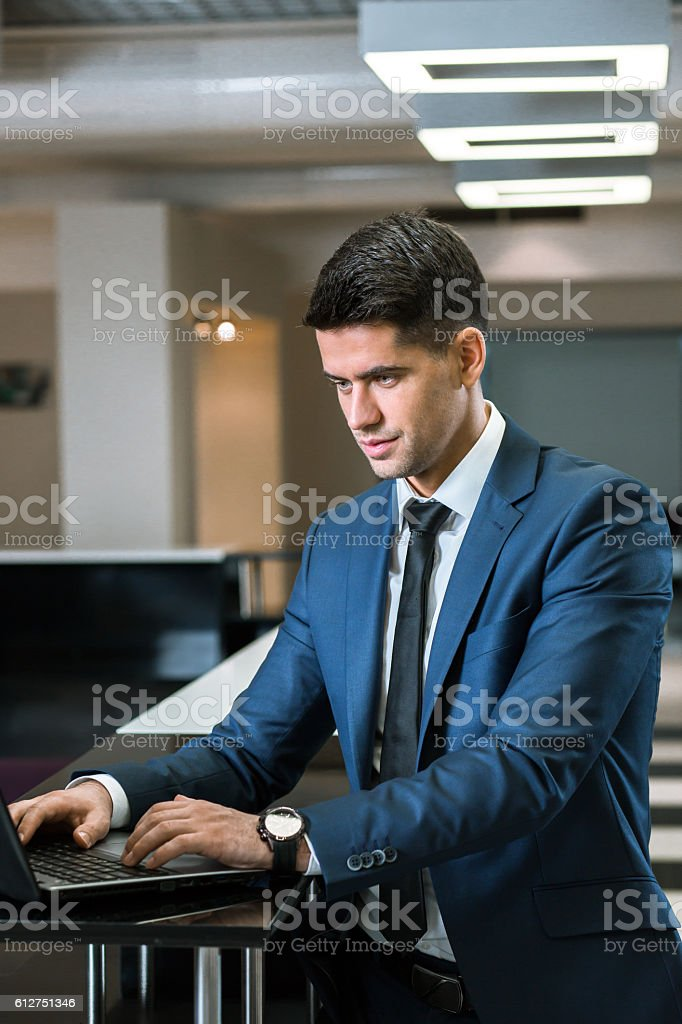 Concentrated on video conference stock photo