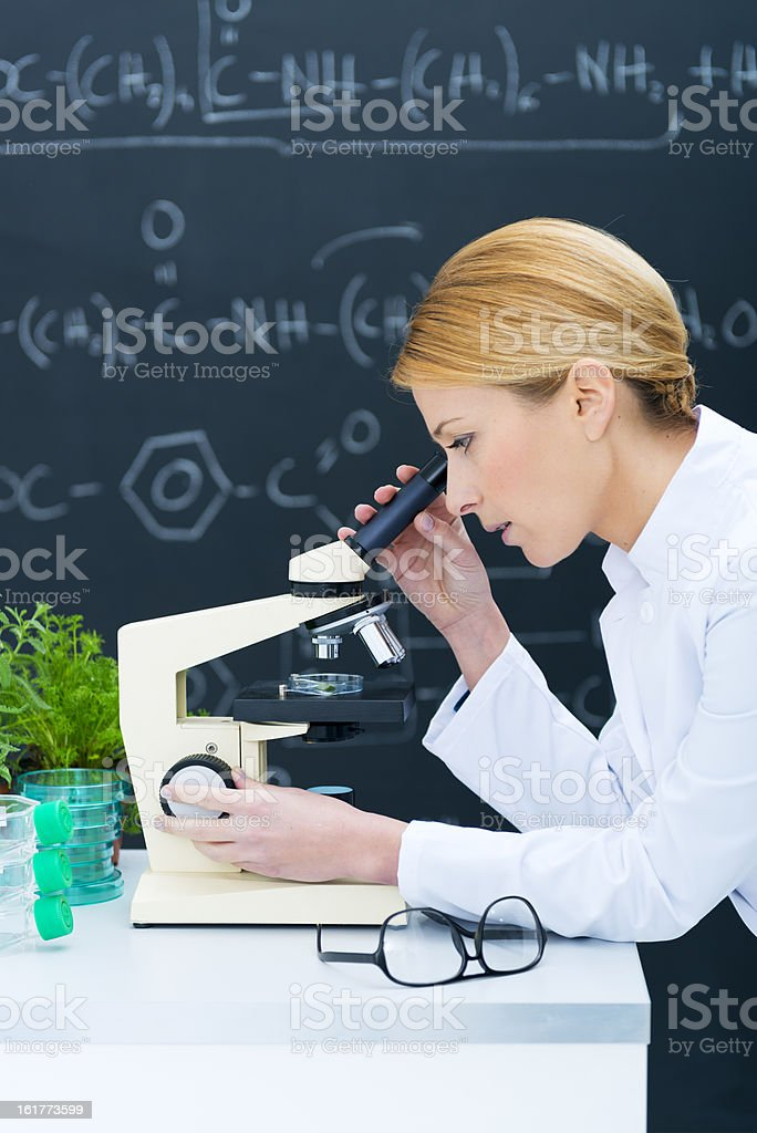 Concentrated scientist using microscope royalty-free stock photo