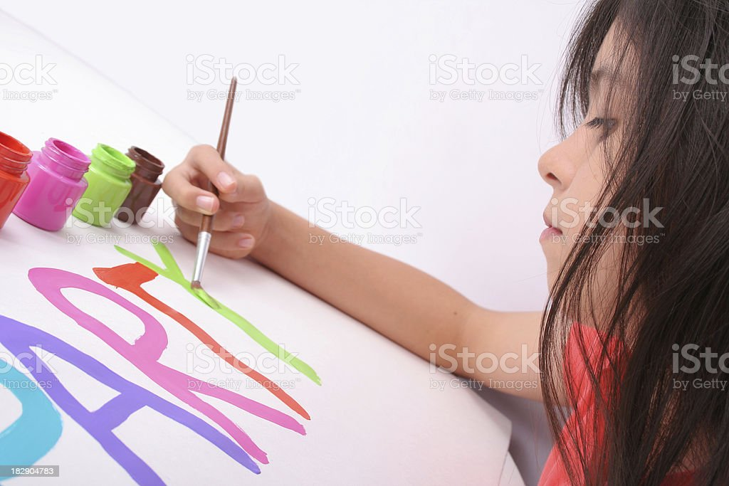 Concentrated Student At The Art Class royalty-free stock photo