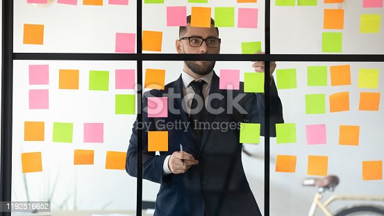 1147760705 istock photo Concentrated young project manager working near kanban board. 1192516652