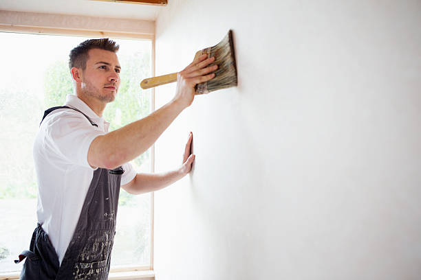 concentrating while decorating - painter stock photos and pictures