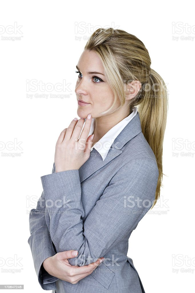 Concentration businesswoman royalty-free stock photo