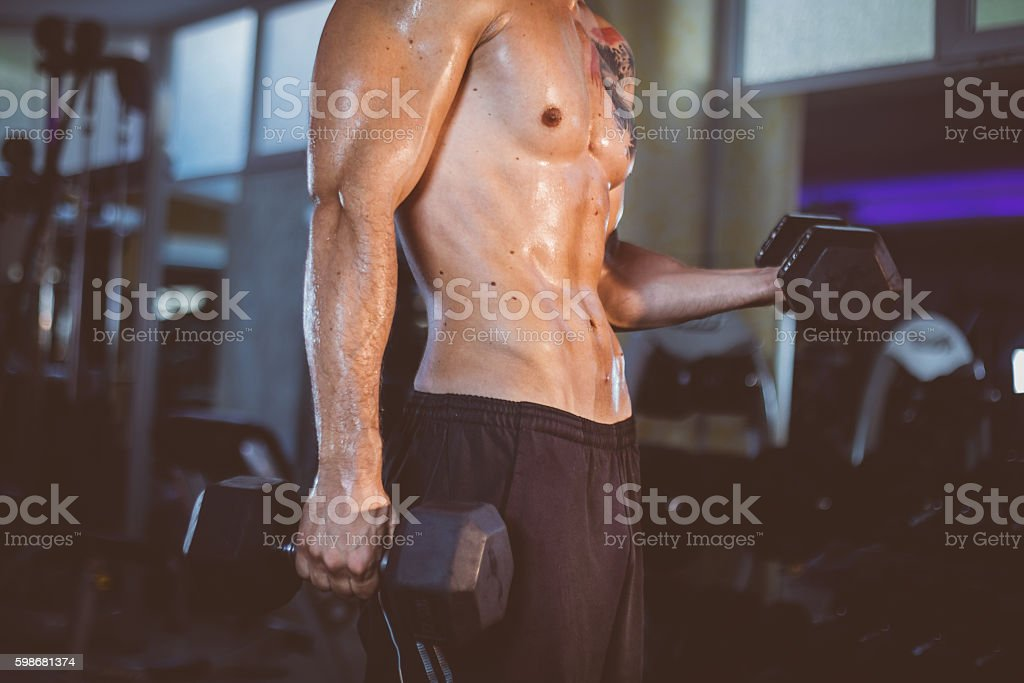 Concentration curls workout stock photo