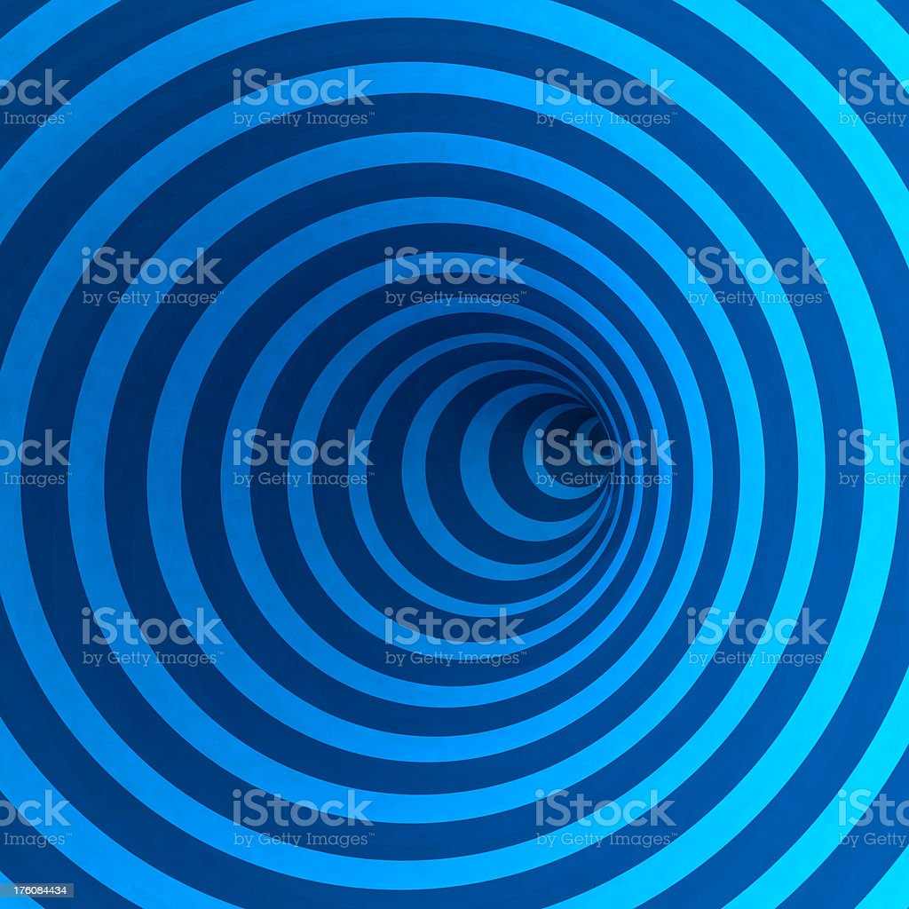 Concentric blue circles tunnel in 3D stock photo