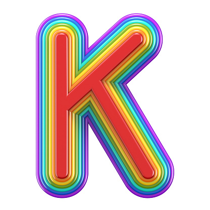 Concentric Rainbow Font Letter K 3d Stock Photo - Download Image Now