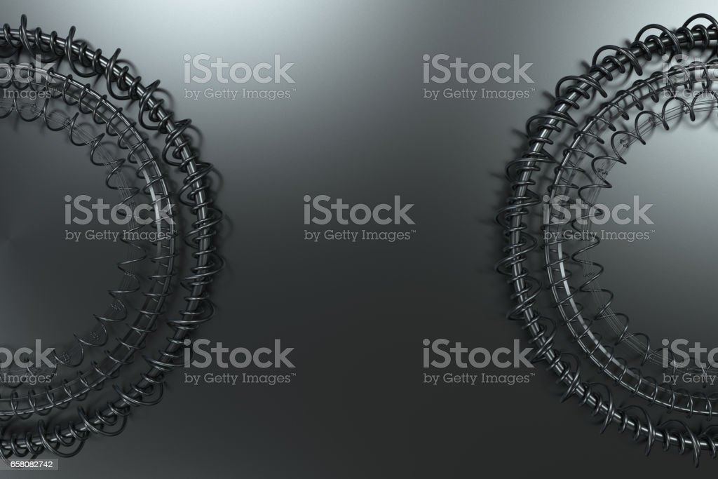 Concentric shape made of rings and spirals on black background royalty-free stock photo