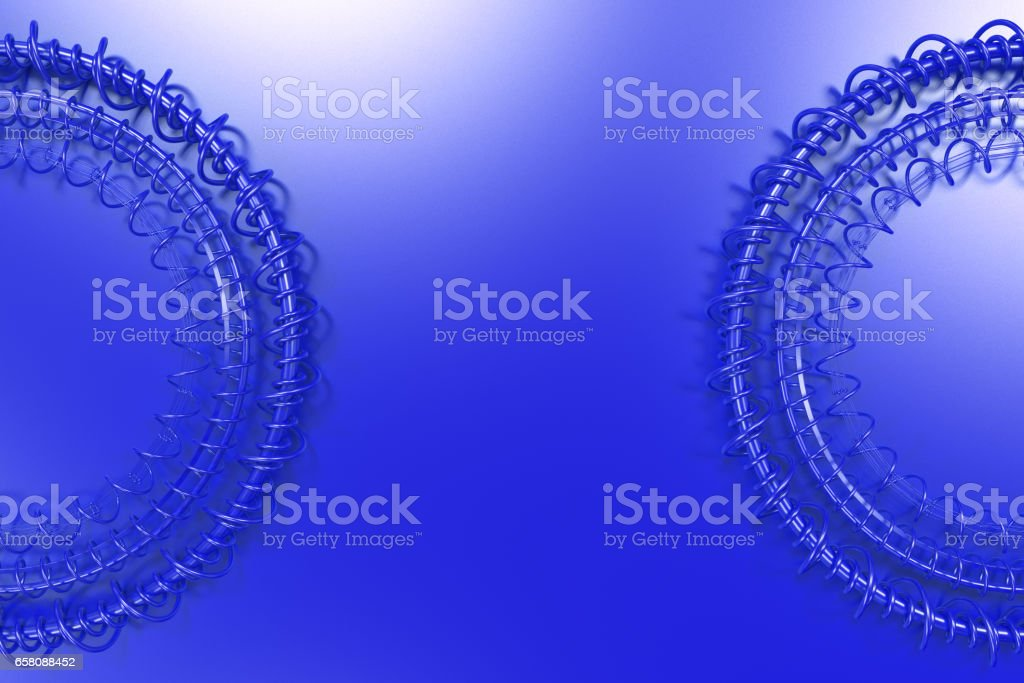 Concentric shape made of rings and spirals on blue background royalty-free stock photo