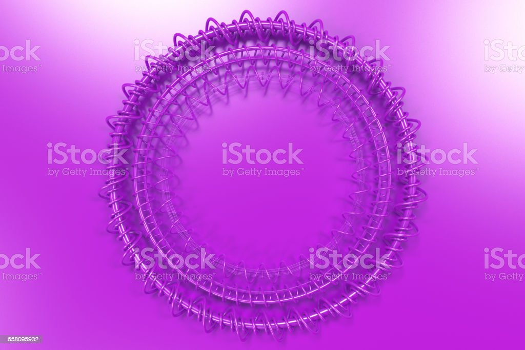 Concentric shape made of rings and spirals on violet background royalty-free stock photo