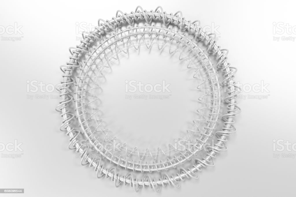 Concentric shape made of rings and spirals on white background royalty-free stock photo