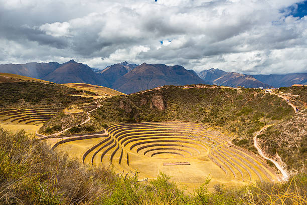 Concentric terraces in Moray, Sacred Valley, Peru stock photo