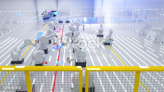 istock Smart automation industry robots in action - industry 4.0 concept - 3D Render 1078787410