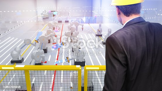 istock Smart automation industry robots in action - industry 4.0 concept - 3D Render 1080265948