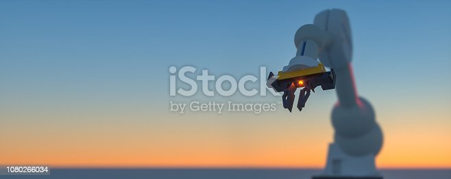 istock Smart automation industry robots in action - industry 4.0 concept - 3D Render 1080266034