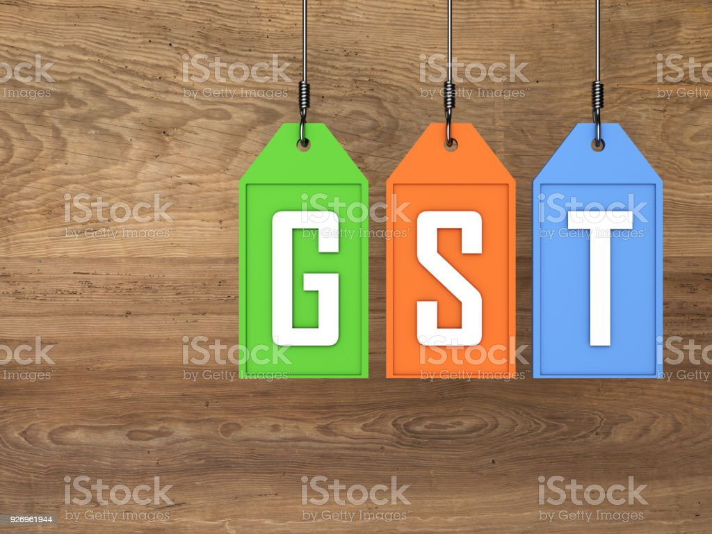 G S T Concept - 3D Rendered Image stock photo