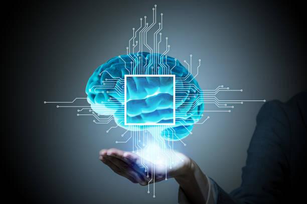 AI (人工知能) の概念、3 D レンダリング、抽象的なイメージを視覚的 ストックフォト