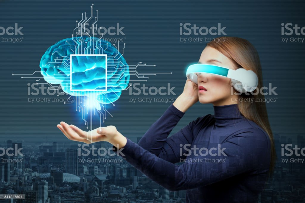 AI(Artificial Intelligence) concept, 3D rendering, abstract image visual stock photo