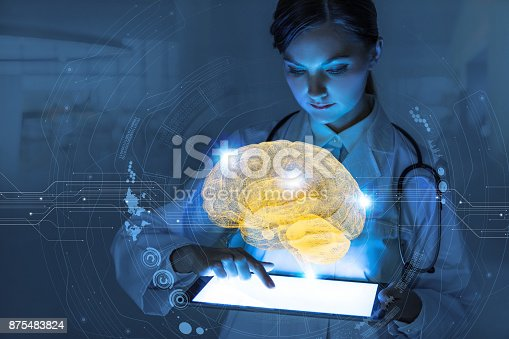 istock AI(Artificial Intelligence) concept. 3D rendering brain. 875483824