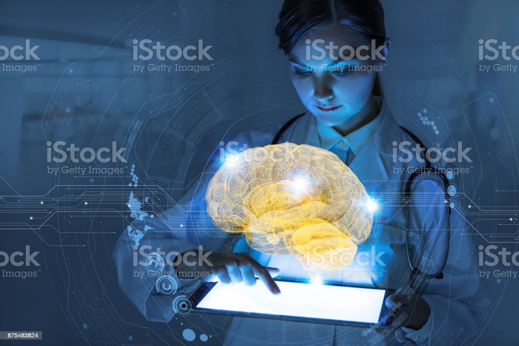 AI(Artificial Intelligence) concept. 3D rendering brain. - foto stock