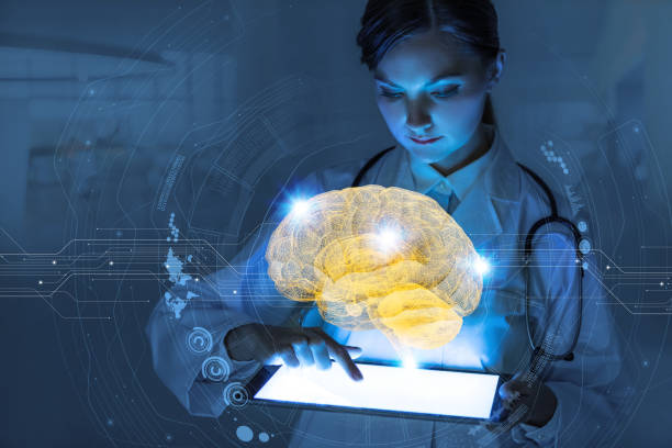 AI(Artificial Intelligence) concept. 3D rendering brain. stock photo