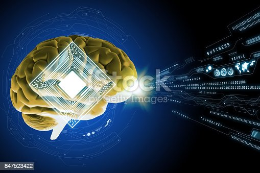 AI(Artificial Intelligence) concept. 3D rendering human brain and electric circuit abstract.