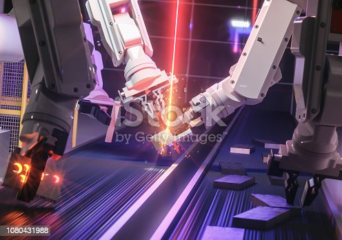 istock Smart automation industry robot in action welding metall - industry 4.0 concept - 3D Rendering 1080431988