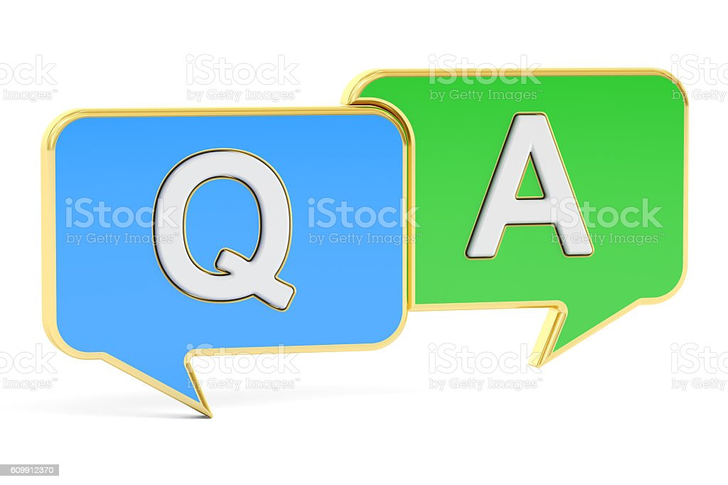 Q&A concept, 3D rendering stock photo