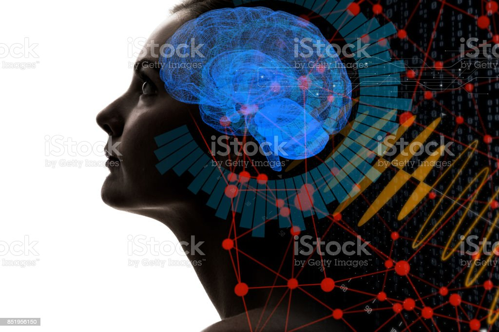 AI (인공 지능) 개념입니다. 3D 렌더링입니다. - 로열티 프리 3차원 형태 스톡 사진