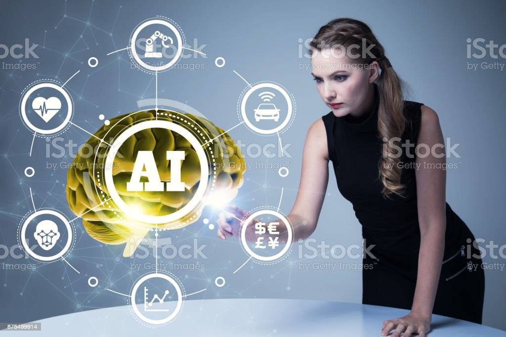 AI(Artificial Intelligence) concept. 3D rendering. stock photo