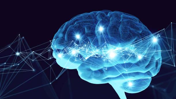 concepto de ai (inteligencia artificial). render 3d. - brain fotografías e imágenes de stock