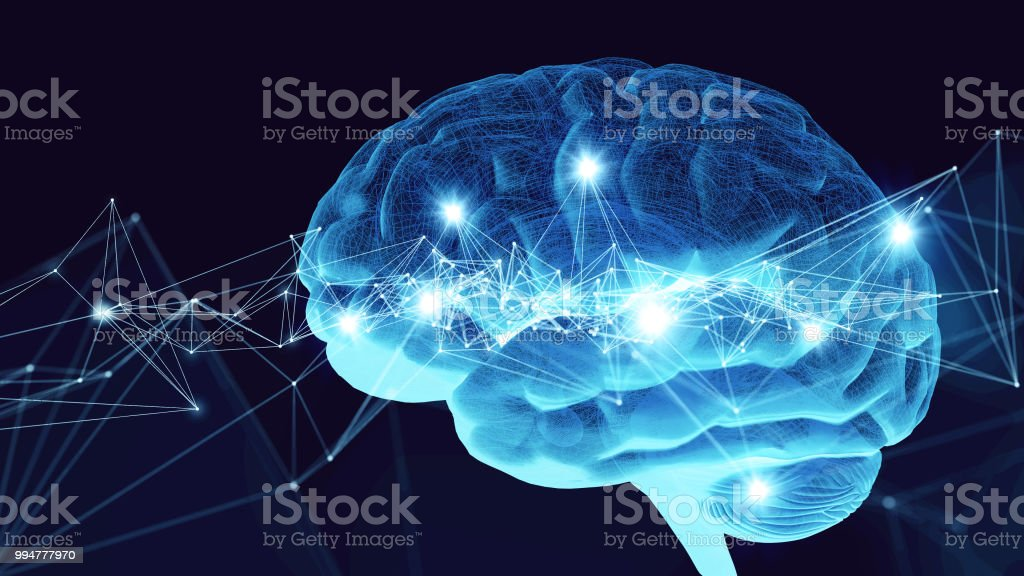 AI (Artificial Intelligence) concept. 3D rendering. stock photo
