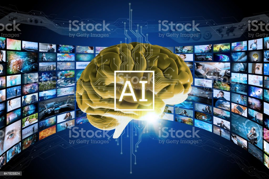 AI (Artificial Intelligence) concept. 3D rendering virtual brain and visualized memories. Cloud computing. Big data. futuristic abstract. stock photo