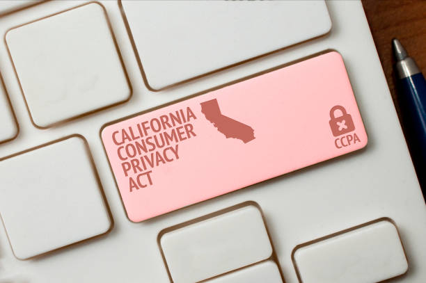 ccpa concept: a black computer keyword with a lock, a california shape and the text california consumer privacy act - privacy foto e immagini stock
