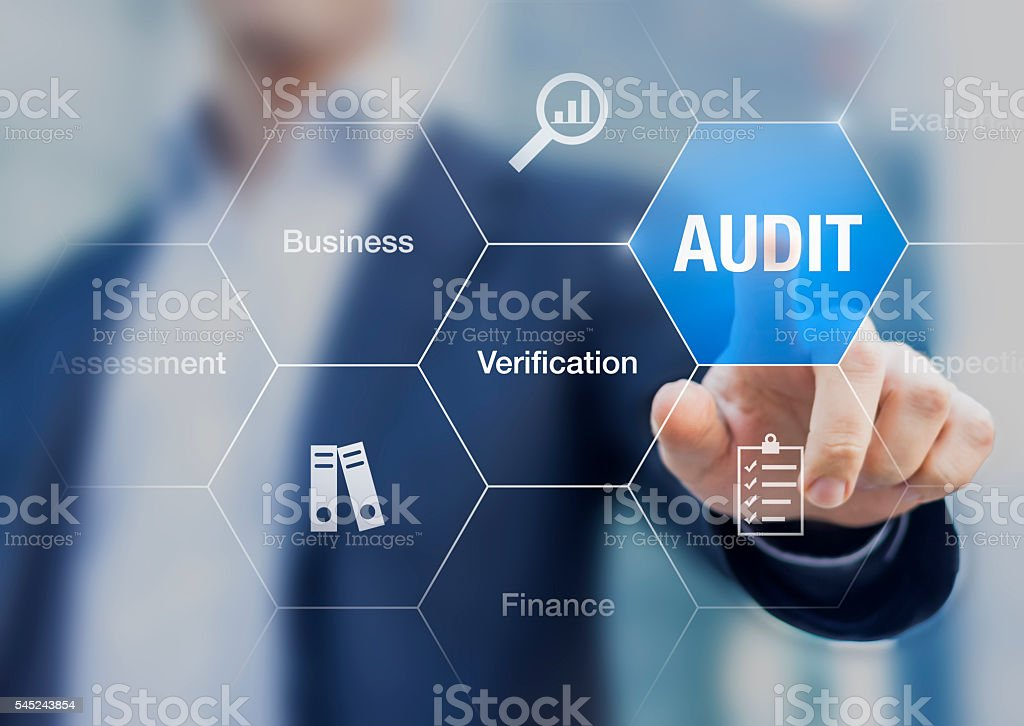 Concept about financial audit to verify the quality of accounting stock photo