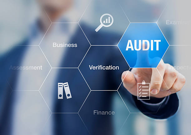 concept about financial audit to verify the quality of accounting - ispezione contabile foto e immagini stock