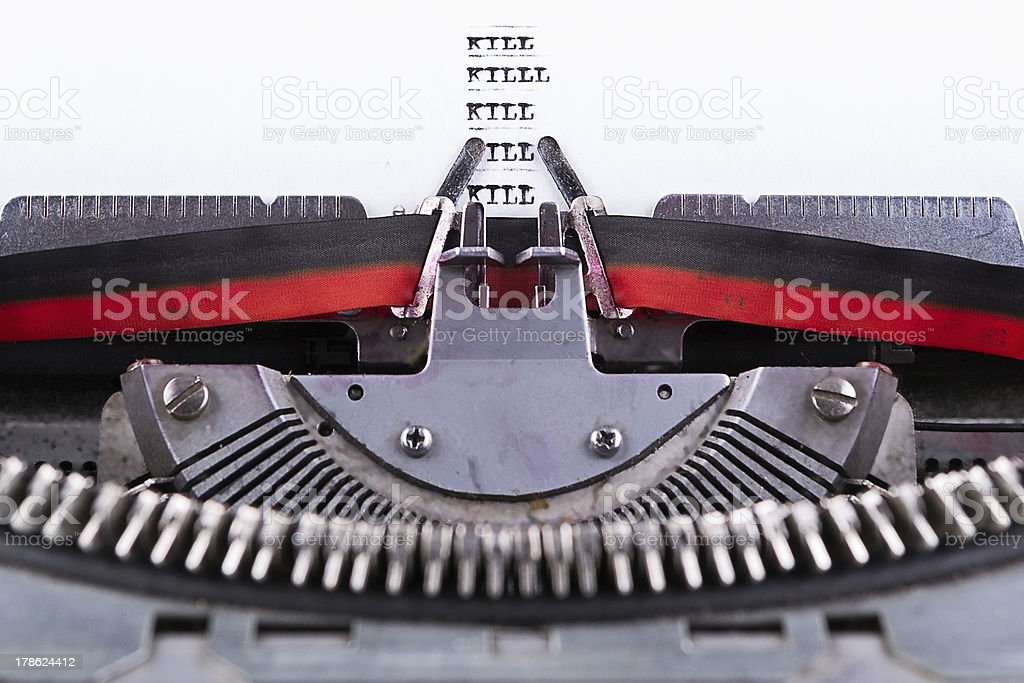 Concept about Kill written on an old typewriter . royalty-free stock photo