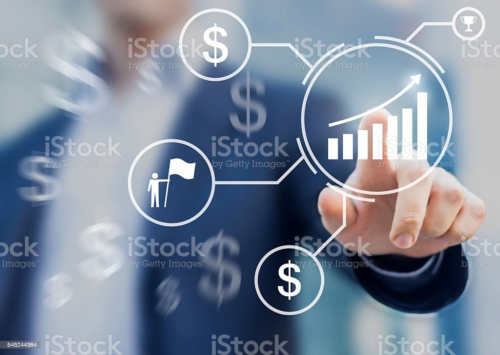 Concept about successful business with chart showing increase in profit stock photo