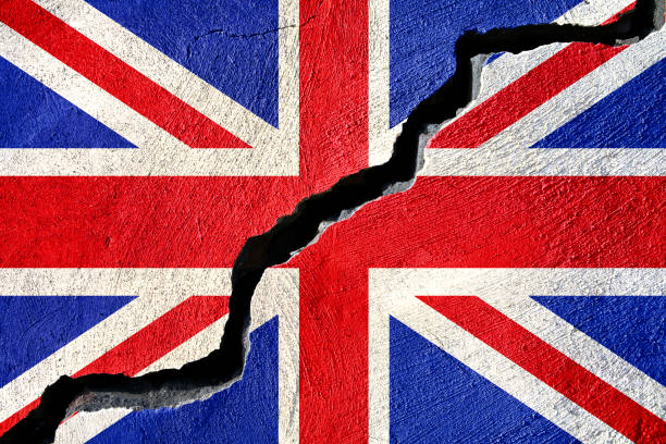 Concept american and United Kingdom on cracked background stock photo