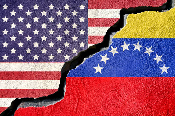 concept american and venezuela flag on cracked background - venezuela stock photos and pictures