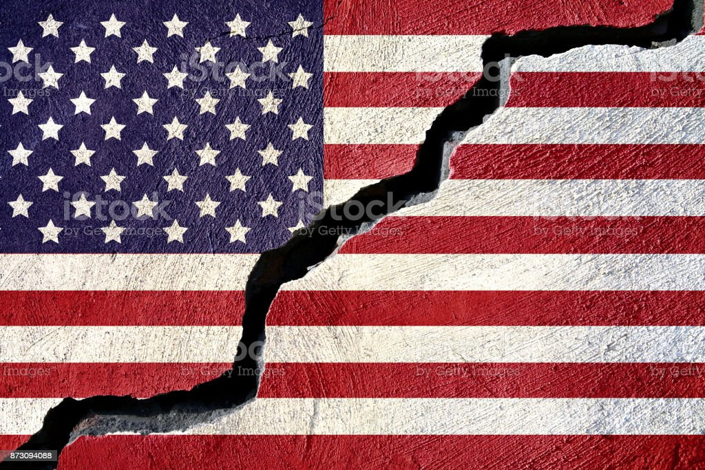 Concept american flag on cracked background stock photo