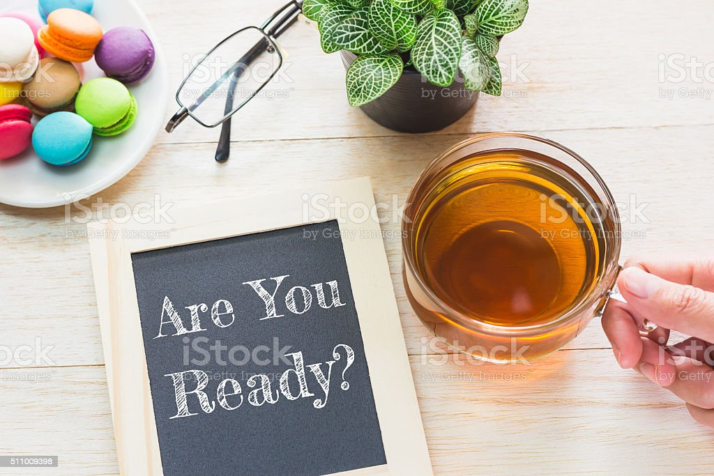 Concept Are you Ready message on wood boards. stock photo