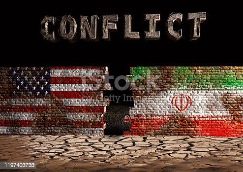 concept art conflict between USA and Iran. Broken, destroyed wall painted with American and Iranian flag in the desert. 3D rendering