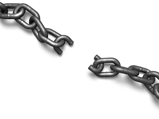 Concept art of a broken gray chain Broken chain, top view. detach stock pictures, royalty-free photos & images