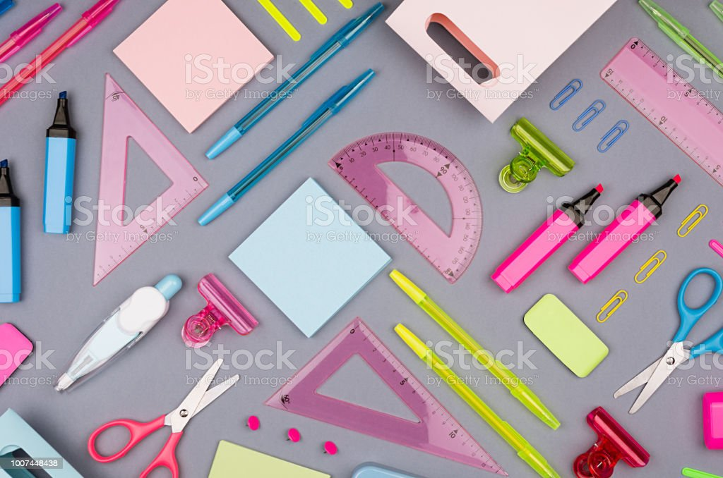 Concept art stationery background for designers - colored office...