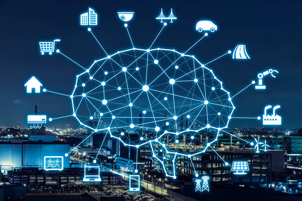 ai concept. artificial intelligence and various industries. - transportation icons stock photos and pictures