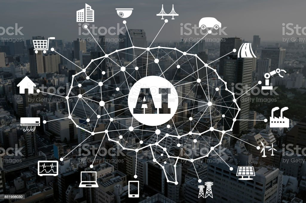 AI concept. Artificial Intelligence and various industries. stock photo