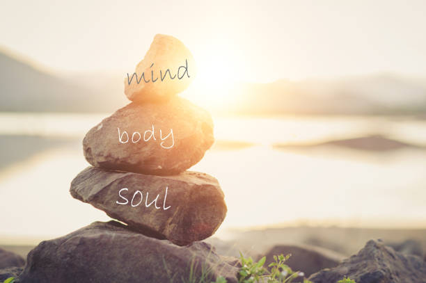 Concept body, mind, soul, spirit stock photo